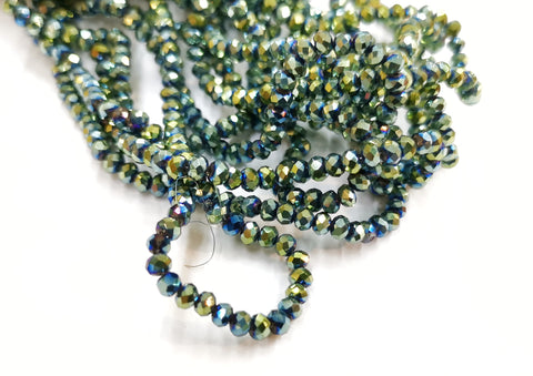 Glass beads, 3x3.5mm faceted rondelle, iridescent green (#41) | 玻璃珠, 3x3.5mm, 切面扁珠, 五彩綠色 (#41)