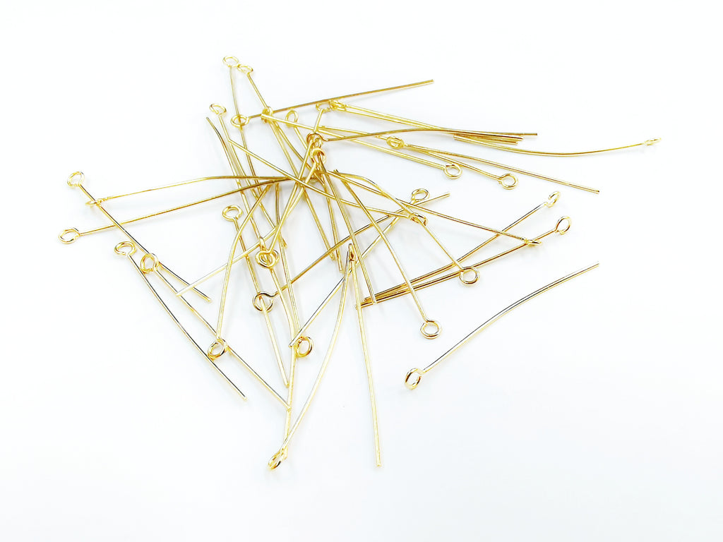 Eye Pins, Stainless Steel, Gold color, 36 pcs per pack | 不鏽鋼9字針, 金色, 36個