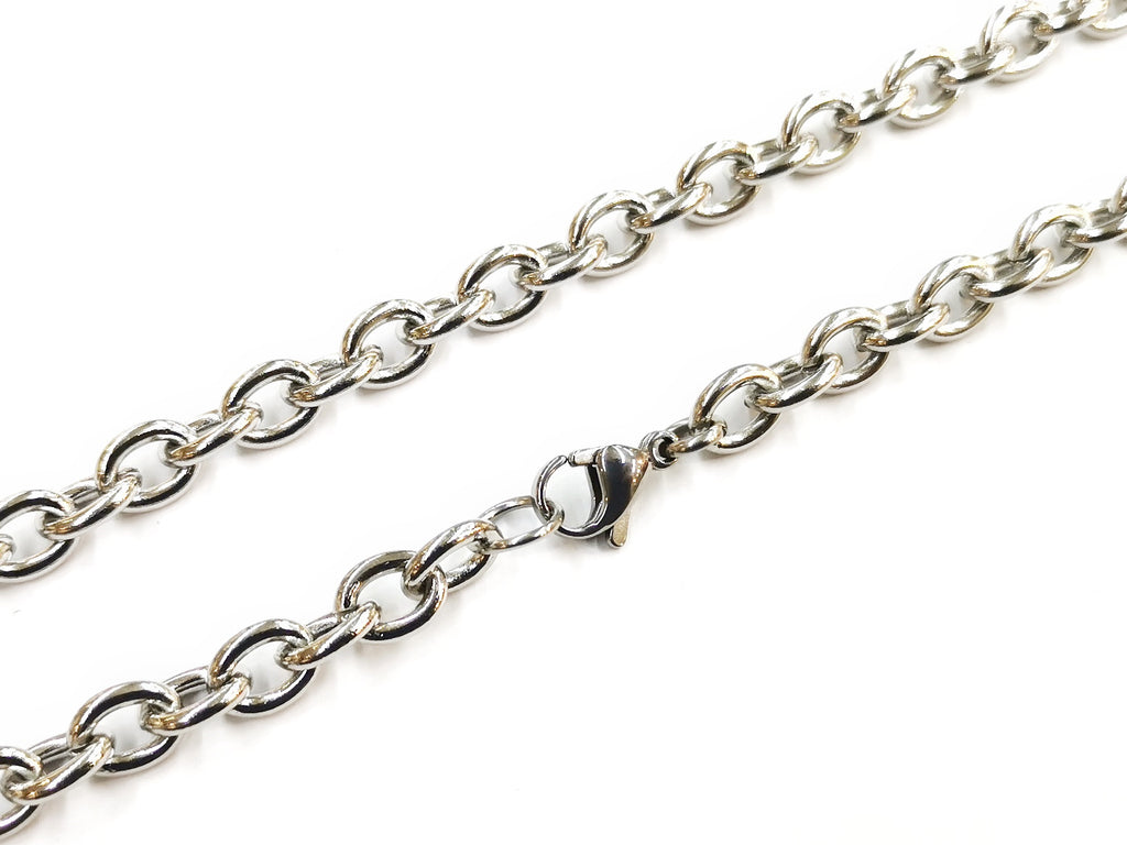 "28"" Stainless Steel Necklace, 6.8mm Oval chain 