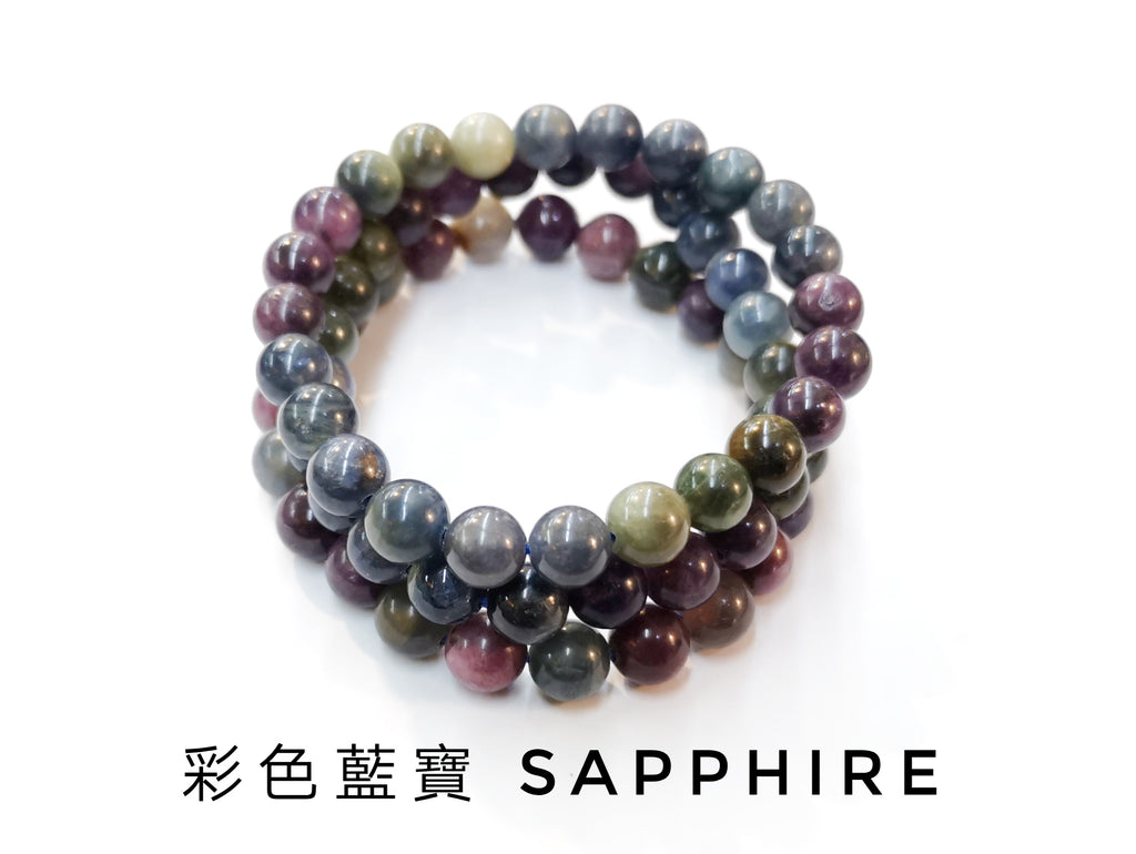 Sapphire, Single loop, Gemstone Bracelet | 彩色藍寶, 單圈, 天然水晶