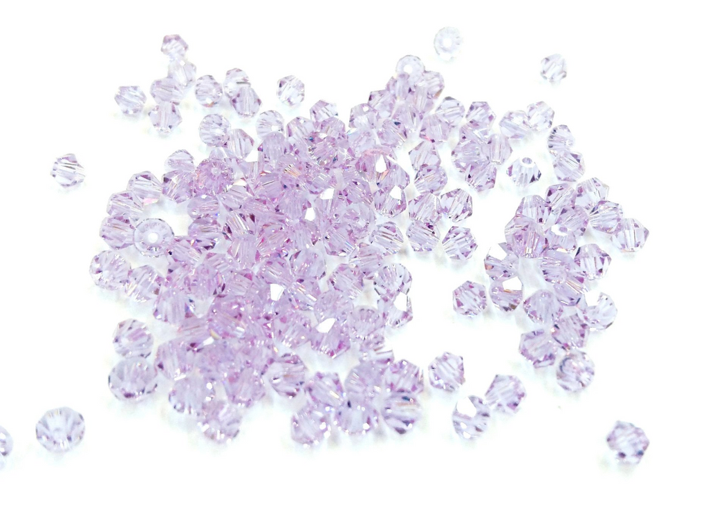 Bicone Glass Bead, 4mm, Lavender, 144 Pcs | 雙尖水晶玻璃, 4mm, 薰衣草, 144粒