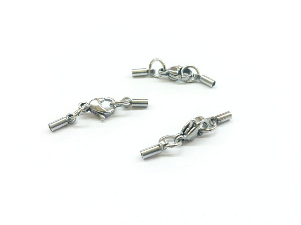 Cord End Stainless Steel Cap Clasp Set, 1.5mm Cord, 2 Sets - amakeit bead 天富