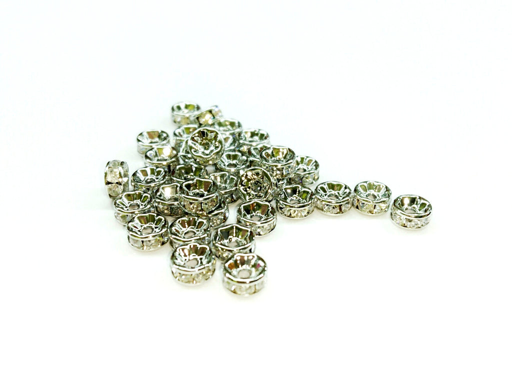 3x6mm Rhinestone rondelle spacer beads, 12 Pieces Per Pack - amakeit bead 天富