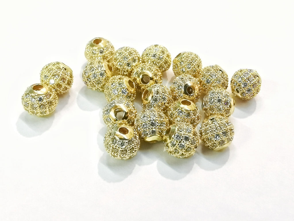 Cubic Zirconia Brass Beads, 6mm, Round, 1 Pc | 方晶鋯石銅珠, 6mm, 圓, 1個