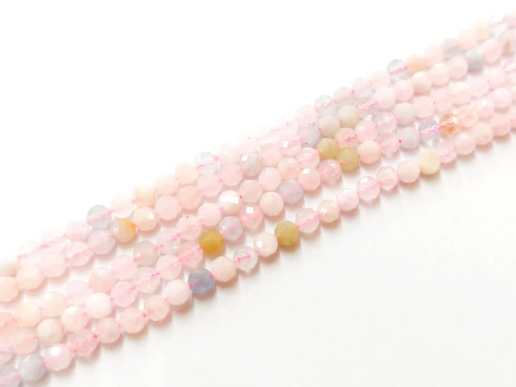 Gemstone beads, faceted round, morganite | 天然水晶, 圓形切面, 摩根石