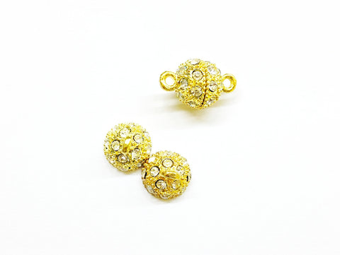 Rhinestone Magnetic Clasp, 12mm Ball, 2 Pieces Per Pack - amakeit bead 天富