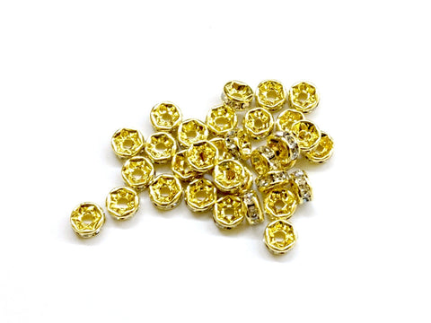Rhinestone Spacer, 2.5x5mm Rondelle, 16 Pieces Per Pack - amakeit bead 天富