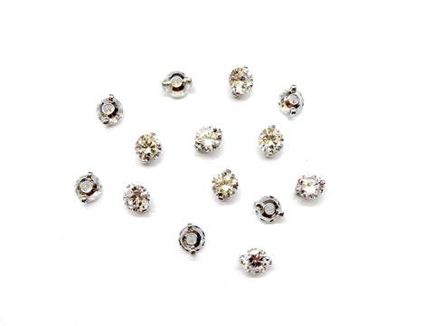 Cubic Zirconia Link, 6mm, 2 Pieces Per Pack - amakeit bead 天富