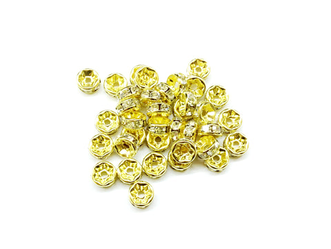 3x7mm Rhinestone Rondelle Spacer Beads, Clear rhinestones, 12 Pieces - amakeit bead 天富