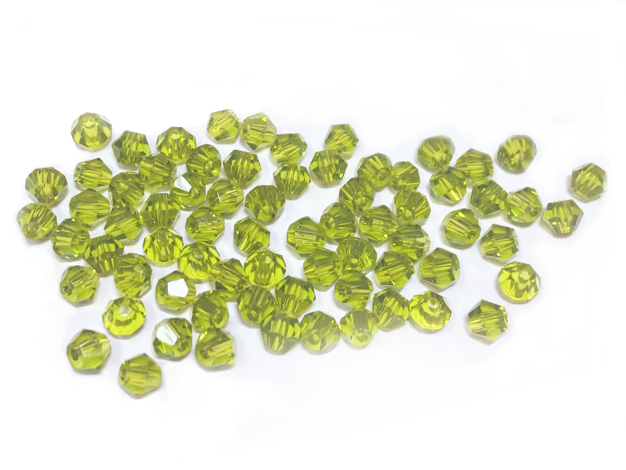 Bicone Glass Bead, 5mm, YellowGreen, 72 Pcs | 雙尖水晶玻璃, 5mm,  橄欖綠, 72粒