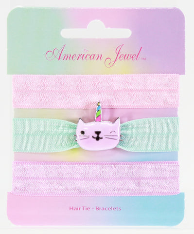 Caticorn 3 Hair Tie Bracelet Card - American Jewel - yummy gummy