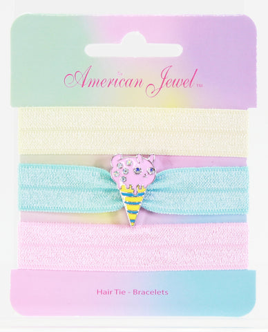Pink Piggy Ice Cream 3 Hair Tie Bracelet Card - American Jewel - yummy gummy