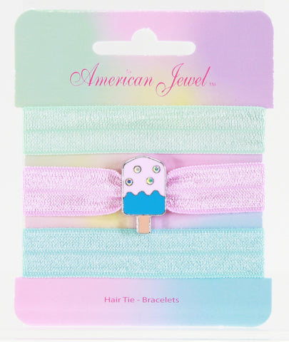 Melting Popsicle 3 Hair Tie Bracelet Card - American Jewel - yummy gummy