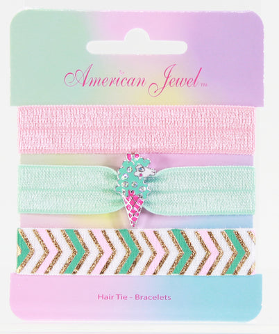 Llama Ice Cream 3 Hair Tie Bracelet Card - American Jewel - yummy gummy
