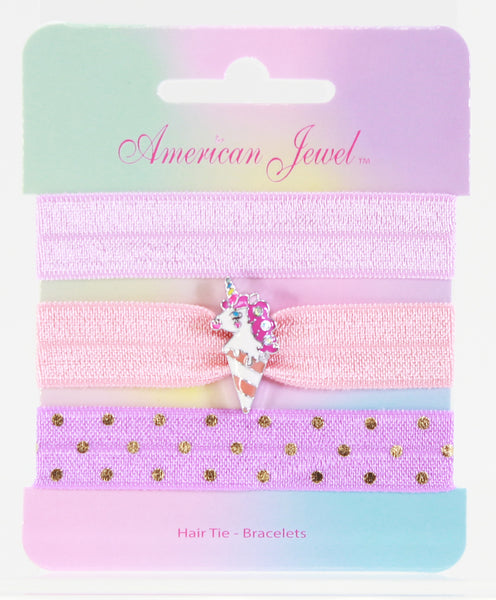 Unicorn Ice Cream 3 Hair Tie Bracelet Card - American Jewel - yummy gummy