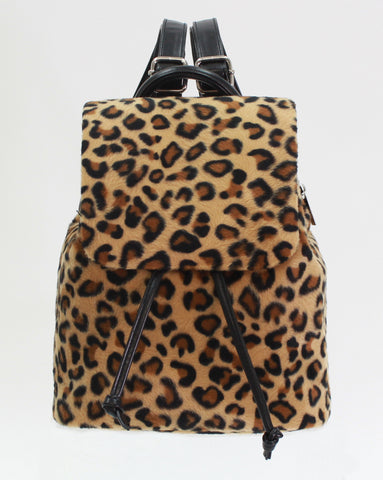 Tiny Leopard Faux Fur Backpack - American Jewel - yummy gummy