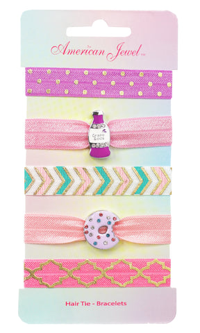 Soda Pop & Purple Sparkle Doughnut 5 Hair Tie Bracelet Card - American Jewel - yummy gummy