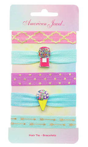 Pink Bubblegum Machine & Snow Cone 5 Hair Tie Bracelet Card - American Jewel - yummy gummy