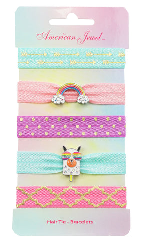 Rainbow & Dog Popsicle 5 Hair Tie Bracelet Card - American Jewel - yummy gummy
