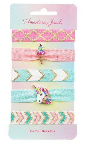 Rainbow Ice Cream & Rainbow Unicorn 5 Hair Tie Bracelet Card - American Jewel - yummy gummy