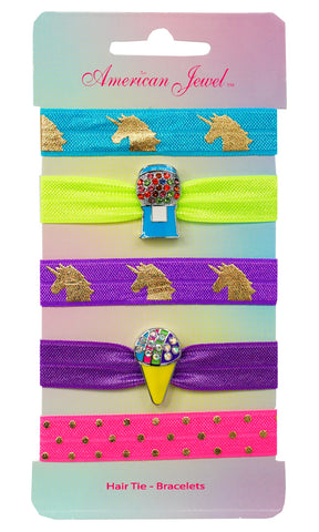Blue Bubblegum Machine & Snow Cone 5 Hair Tie Bracelet Card - American Jewel - yummy gummy