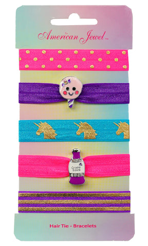 Connie Cotton Candy & Soda Pop 5 Hair Tie Bracelet Card - American Jewel - yummy gummy