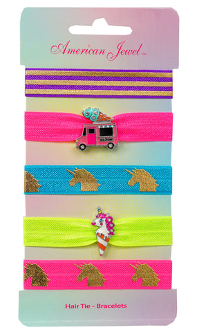 Ice Cream Truck & Unicorn Ice Cream 5 Hair Tie Bracelet Card - American Jewel - yummy gummy