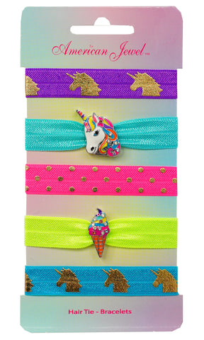 Rainbow Unicorn & Rainbow Ice Cream 5 Hair Tie Bracelet Card - American Jewel - yummy gummy