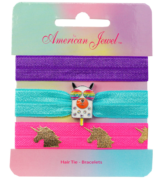 Rainbow Dog Popsicle 3 Hair Tie Bracelet Card - American Jewel - yummy gummy