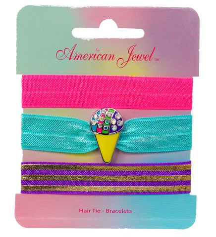 Snow cone 3 Hair Tie Bracelet Card - American Jewel - yummy gummy