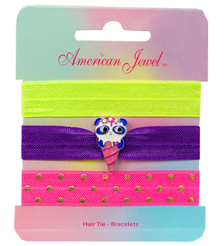 Panda Ice Cream 3 Hair Tie Bracelet Card - American Jewel - yummy gummy
