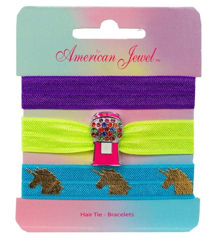 Pink Bubblegum Machine 3 Hair Tie Bracelet Card - American Jewel - yummy gummy