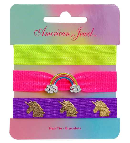 Rainbow 3 Hair Tie Bracelet Card - American Jewel - yummy gummy