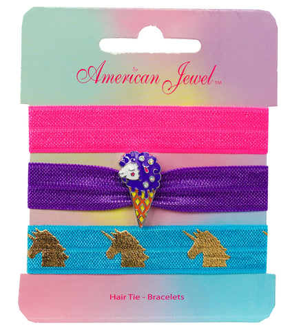 Sheep Ice Cream 3 Hair Tie Bracelet Card - American Jewel - yummy gummy