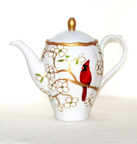 Cardinal Teapot Hand Painted Porcelain Custom Designed Tabletop Decor