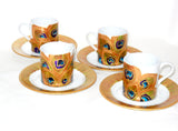 Porcelain Peacock Demitasse  Set Hand Painted Cups Saucers