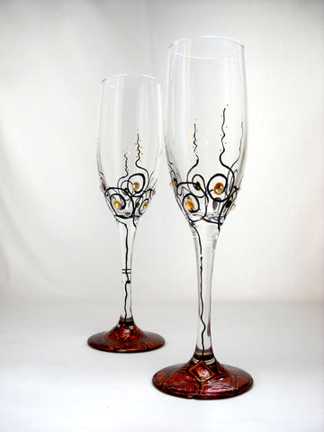 GalaxSea Collection Flute Glasses Hand Painted Glassware Toasting Flutes Crystal Embellished Pair
