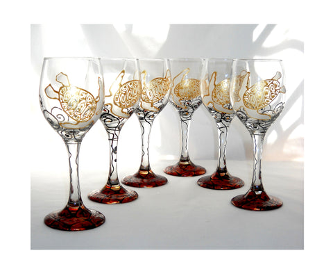 Sea Turtle GalaxSea Collection Hand Painted Cordial Glassware - sackettdoodles