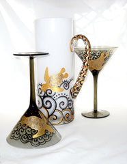 Martini Pitcher Set Hand Painted Crystal