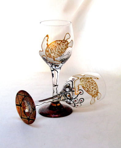 Sea Turtle Cordial Glasses, GalaxSea Collection Hand Painted Glassware