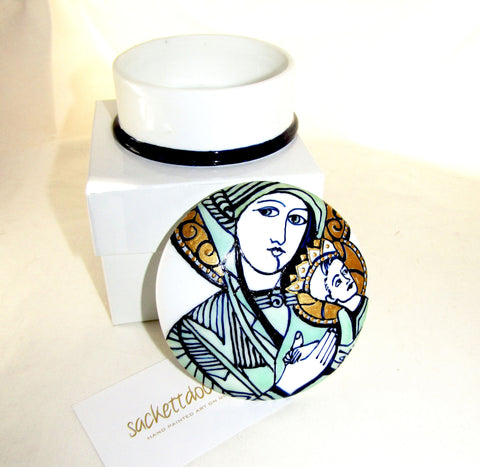 Keepsake Porcelain Trinket Box Hand Painted Personalized Vanity Box Madonna & Child Home Decor