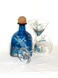 Silver Dragonfly Decanter Patron Bottle Art on Glass Hand Painted Blue Tabletop Accessory