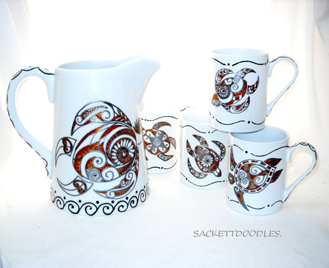 Tribal Coffee Mugs Art Pitcher Set Hand Painted Porcelain Spirit Turtle Southwestern Decor