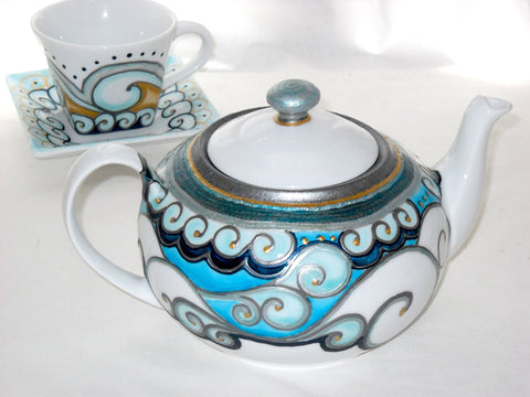 Porcelain Teapot Hand Painted Custom Designed Serveware - sackettdoodles
