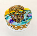 Wave Skull and Dolphin Hand Painted Porcelain Trinket Box Wave Rider