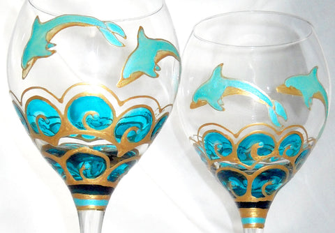 Goblets Hand Painted Turquoise Dolphin Glassware - sackettdoodles
