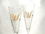 Monogram Trumpet Flutes with Candy Dish Hand Painted Custom Personalized
