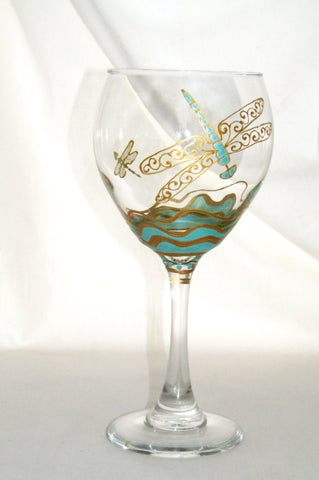 Dragonfly Goblets Hand Painted Glassware Toasting Glasses Art on Glass