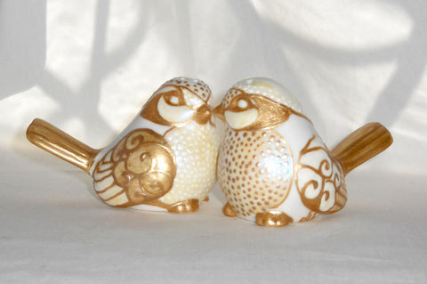 Salt Pepper Shakers Gold Wren Bird Wedding Cake Toppers Hand Painted Table Top Accessory - sackettdoodles