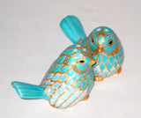 Porcelain Salt Pepper Shakers Hand Painted Blue Gold Tabletop Decor - sackettdoodles